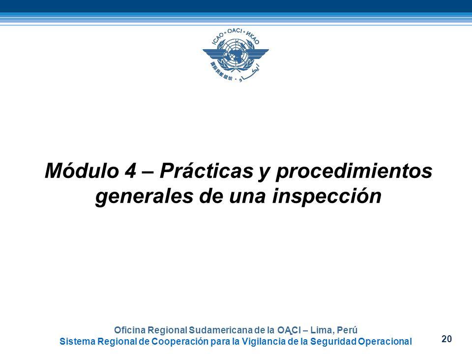 Módulo 4 – Prácticas y procedimientos generales de una inspección