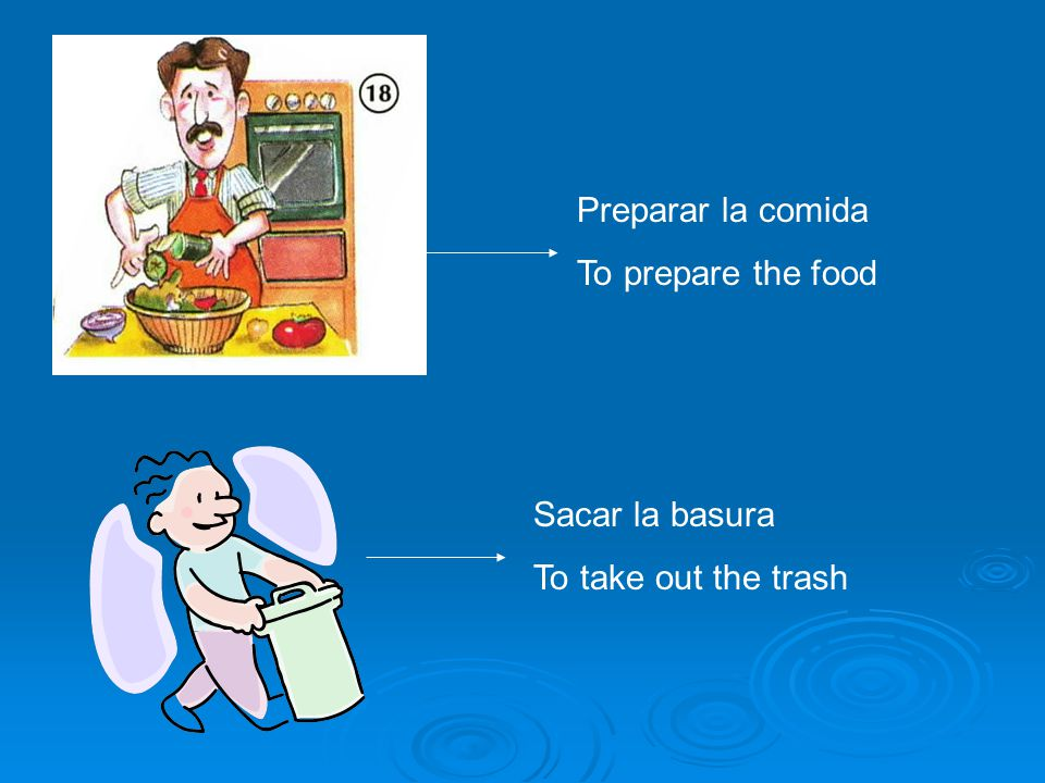 Preparar la comida To prepare the food Sacar la basura To take out the trash