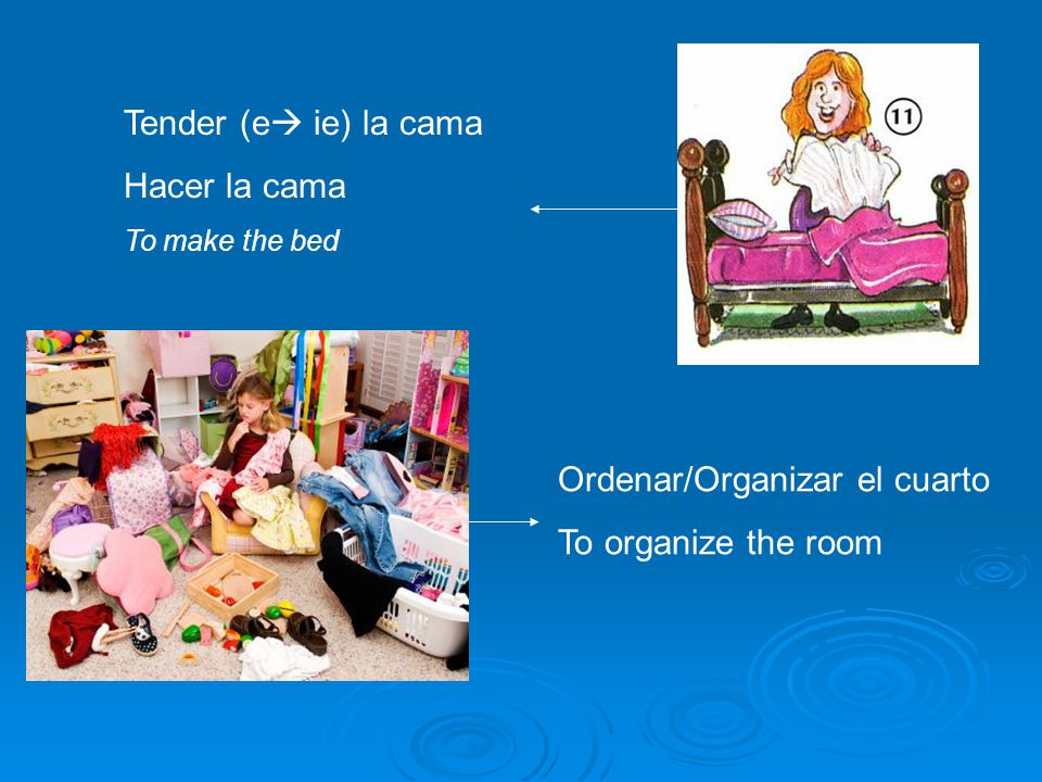 Ordenar/Organizar el cuarto To organize the room