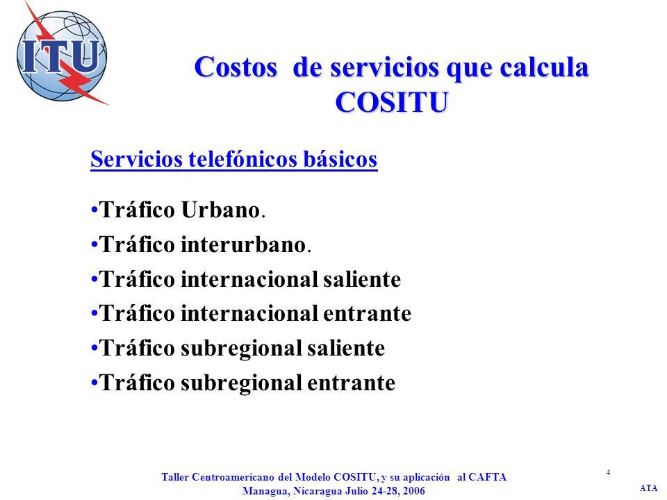 Costos de servicios que calcula COSITU