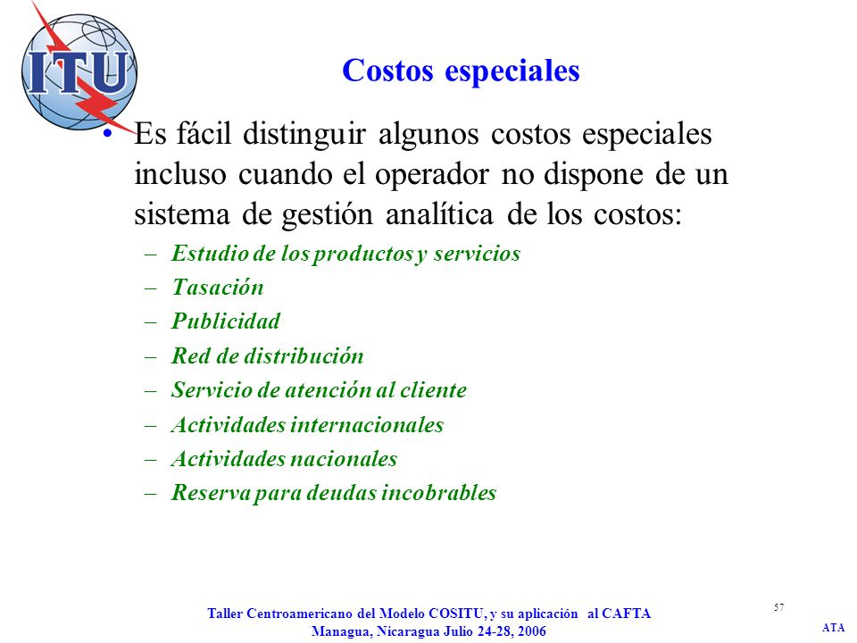 JD/kat Costos especiales.