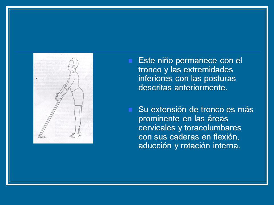 Este niño permanece con el tronco y las extremidades inferiores con las posturas descritas anteriormente.