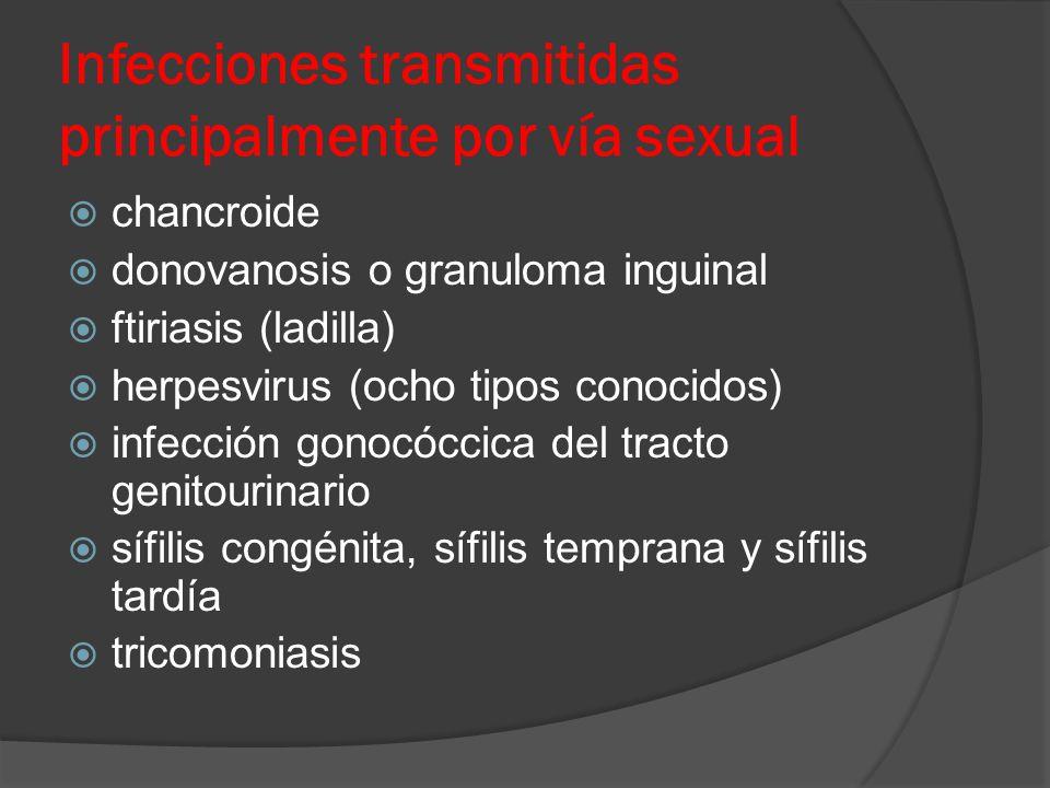 Infecciones transmitidas principalmente por vía sexual