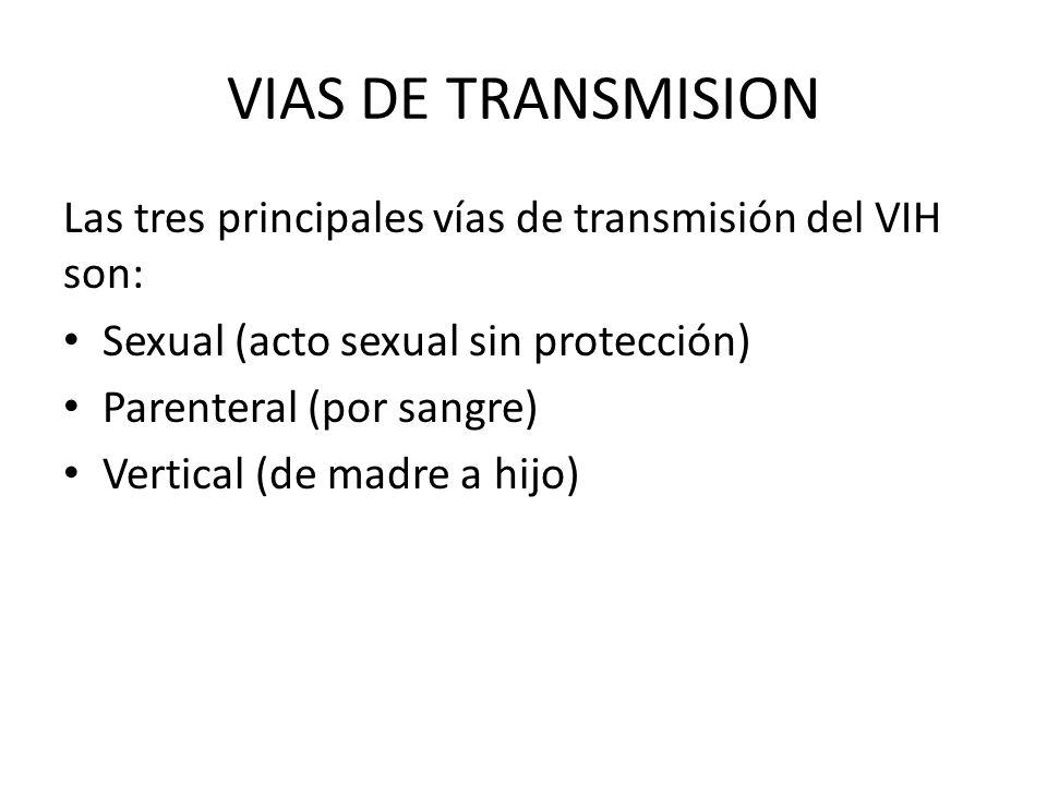 VIAS DE TRANSMISION Las tres principales vías de transmisión del VIH son: Sexual (acto sexual sin protección)