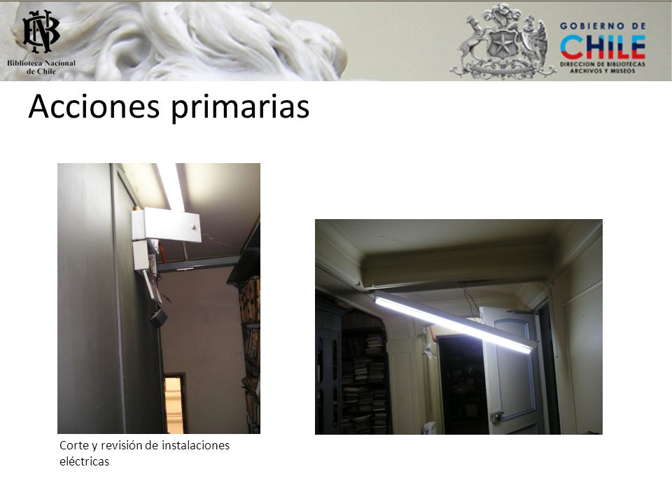 Acciones primarias Corte y revisión de instalaciones eléctricas