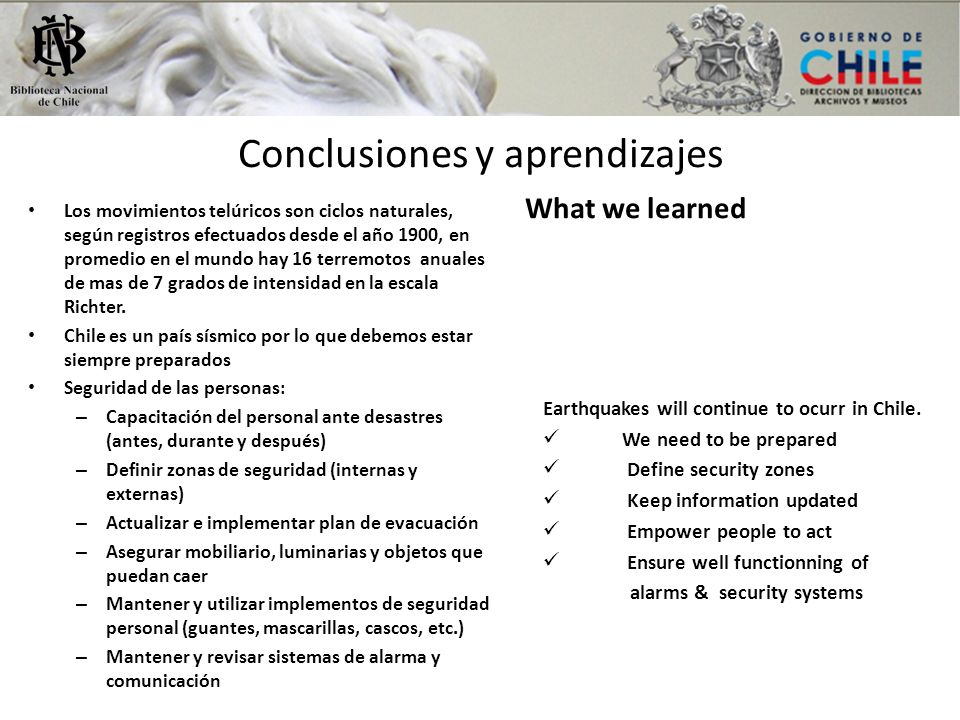 Conclusiones y aprendizajes What we learned