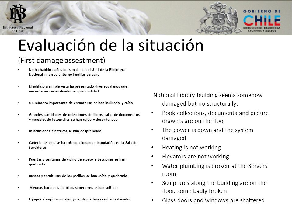 Evaluación de la situación (First damage assestment)