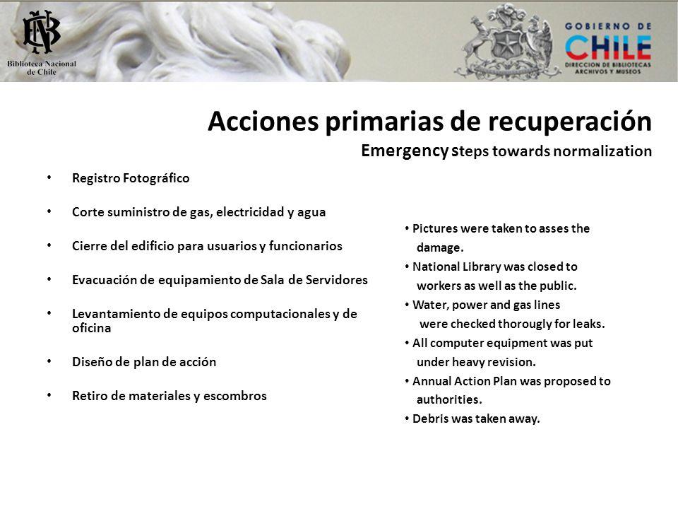 Acciones primarias de recuperación Emergency steps towards normalization