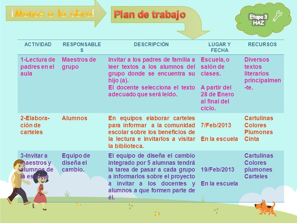 ¡Manos a la obra! Plan de trabajo 1-Lectura de padres en el aula