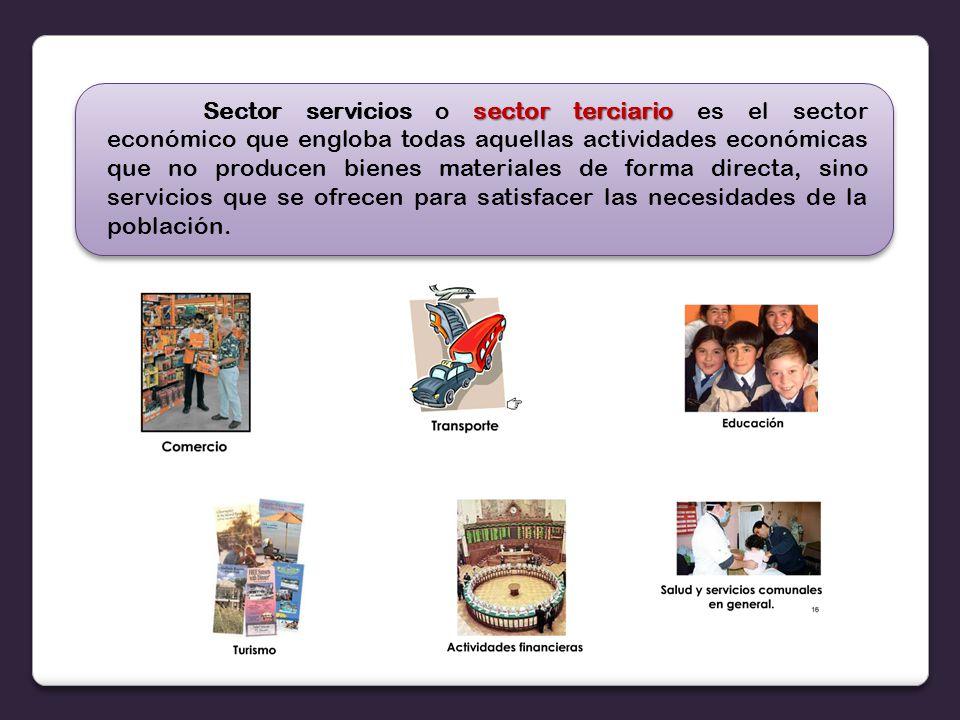 Sector servicios o sector terciario es el sector económico que engloba todas aquellas actividades económicas que no producen bienes materiales de forma directa, sino servicios que se ofrecen para satisfacer las necesidades de la población.