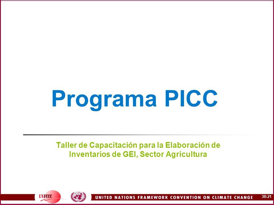 Programa PICC Taller de Capacitación para la Elaboración de Inventarios de GEI, Sector Agricultura