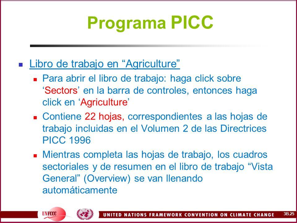 Programa PICC Libro de trabajo en Agriculture
