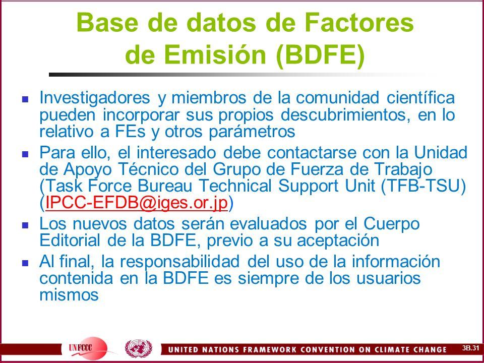 Base de datos de Factores de Emisión (BDFE)