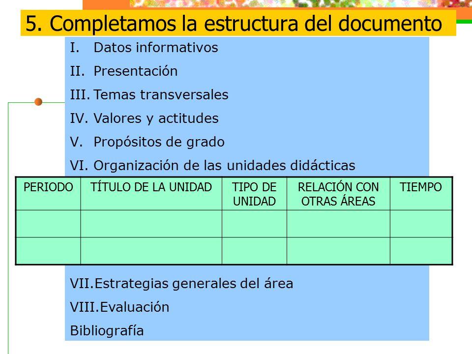 5. Completamos la estructura del documento