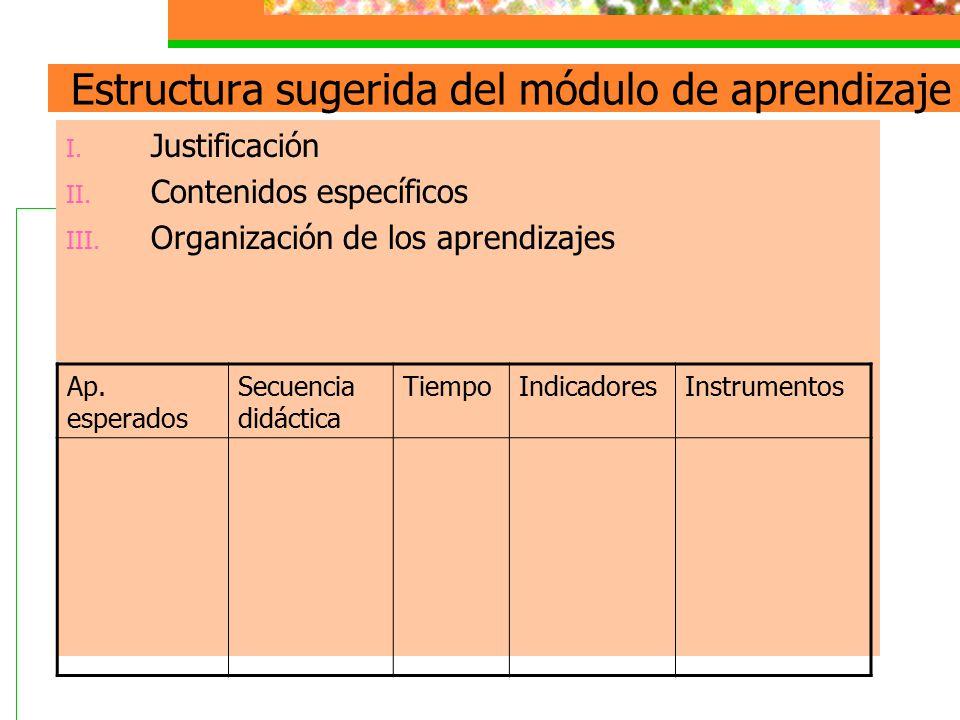 Estructura sugerida del módulo de aprendizaje