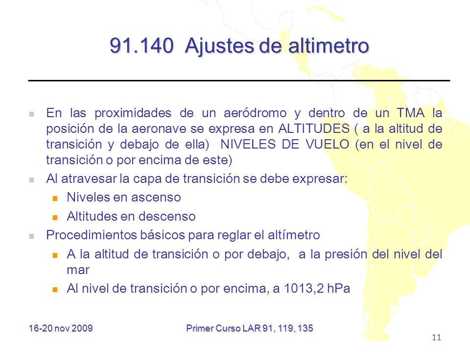 91.140 Ajustes de altimetro