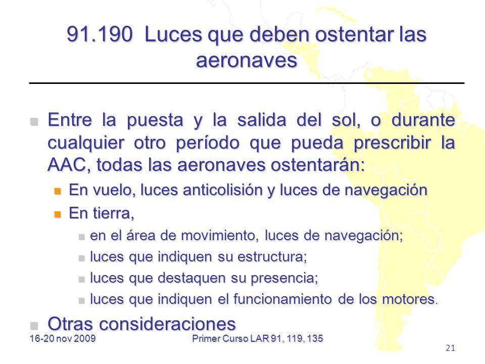 91.190 Luces que deben ostentar las aeronaves