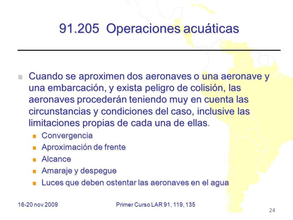 91.205 Operaciones acuáticas