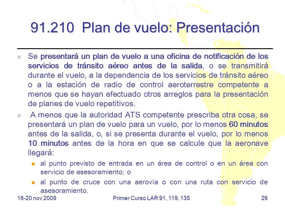 91.210 Plan de vuelo: Presentación