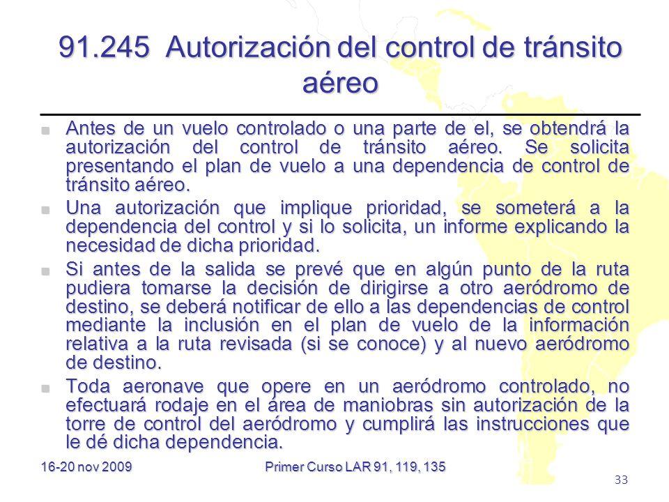 91.245 Autorización del control de tránsito aéreo