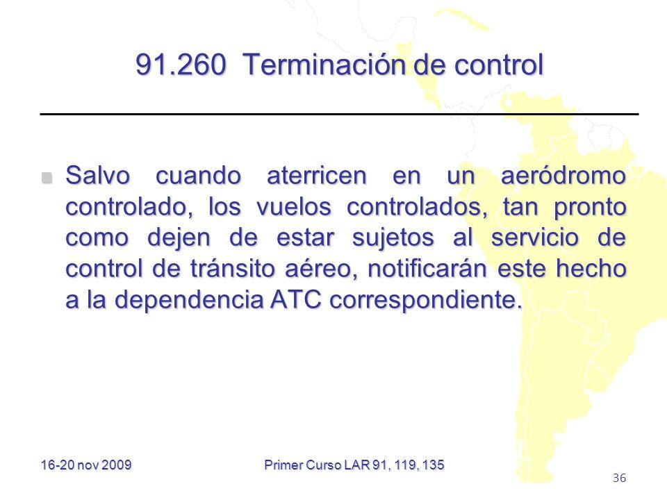 91.260 Terminación de control
