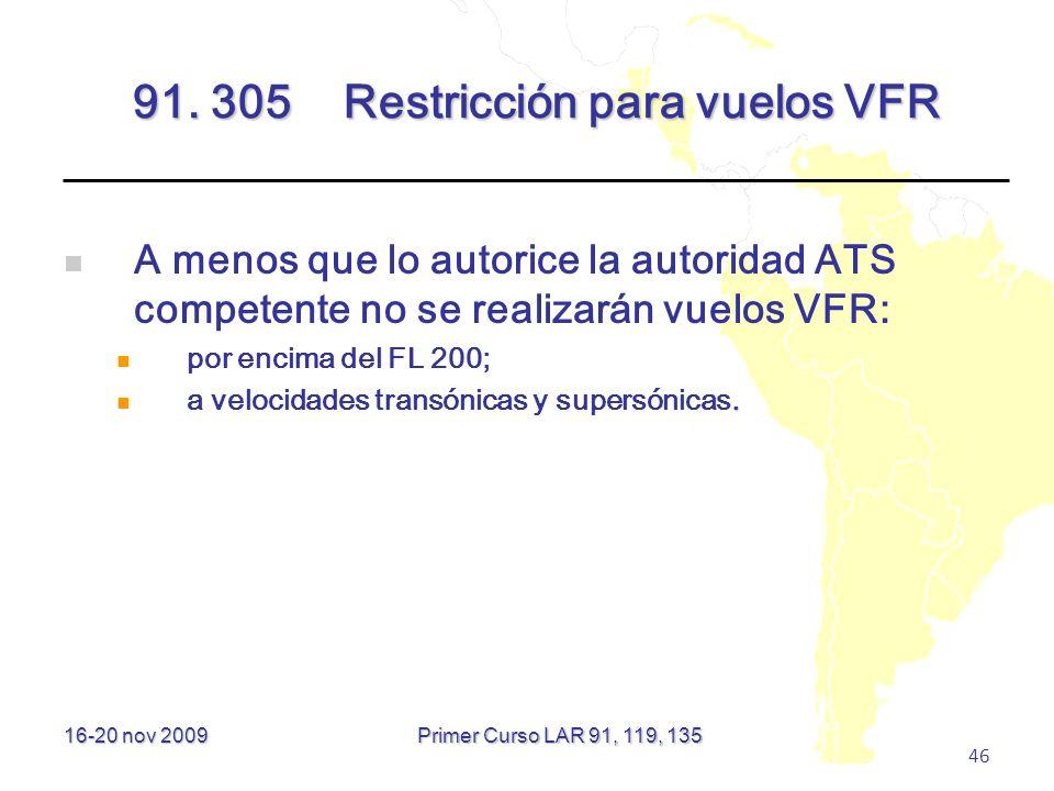 91. 305 Restricción para vuelos VFR