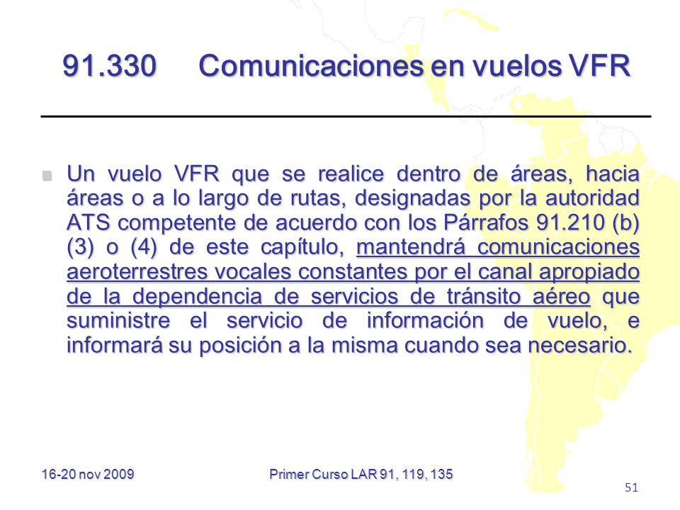 91.330 Comunicaciones en vuelos VFR