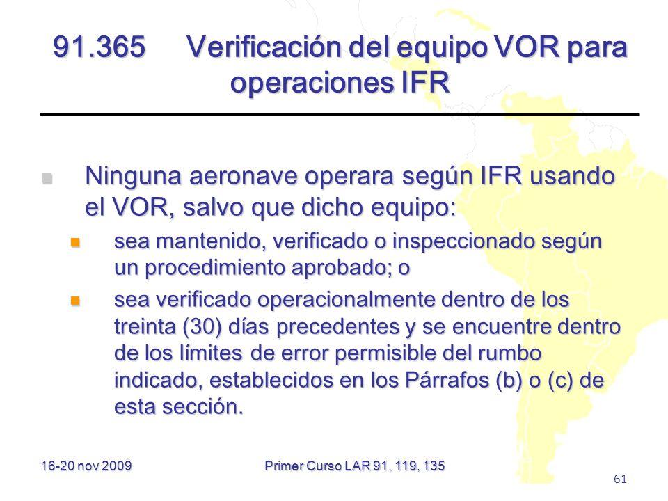 91.365 Verificación del equipo VOR para operaciones IFR