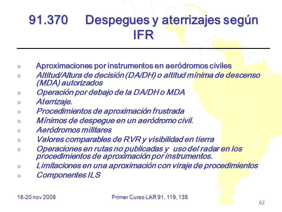 91.370 Despegues y aterrizajes según IFR