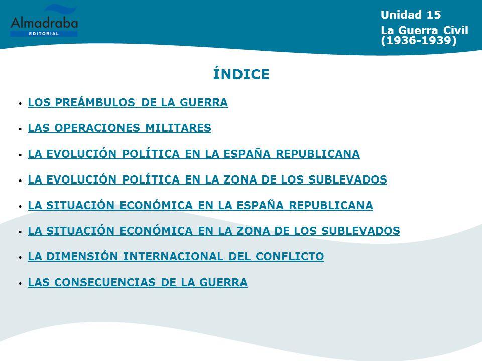 ÍNDICE Unidad 15 La Guerra Civil (1936-1939)