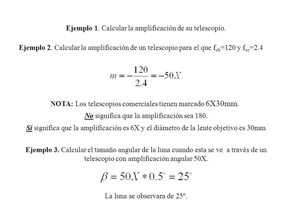Ejemplo 1. Calcular la amplificación de su telescopio.