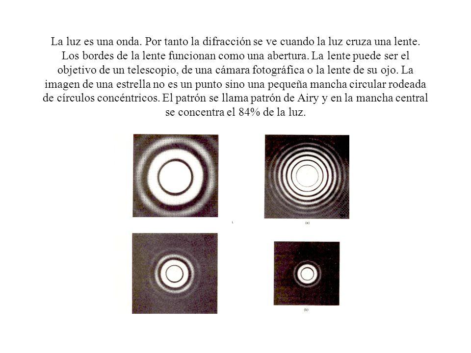 La luz es una onda. Por tanto la difracción se ve cuando la luz cruza una lente.