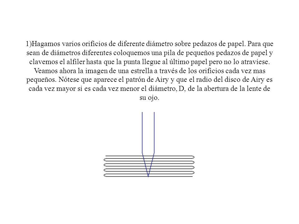 1)Hagamos varios orificios de diferente diámetro sobre pedazos de papel.