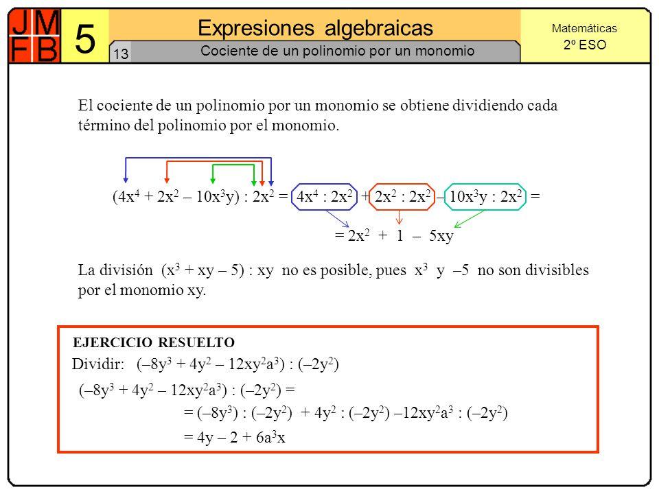 Cociente de un polinomio por un monomio