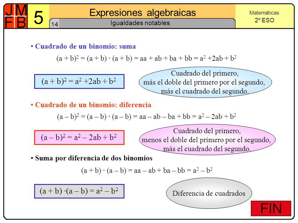 5 Expresiones algebraicas (a + b)2 = a2 +2ab + b2