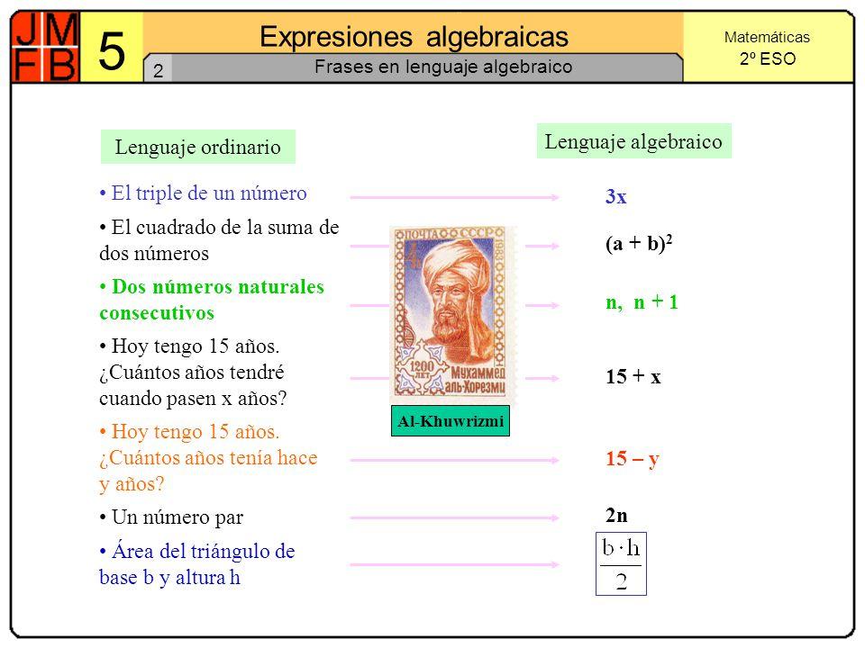 Frases en lenguaje algebraico