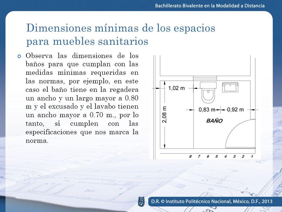 Aplicaci n de las normas t cnicas complementarias ppt for Dimensiones minimas bano