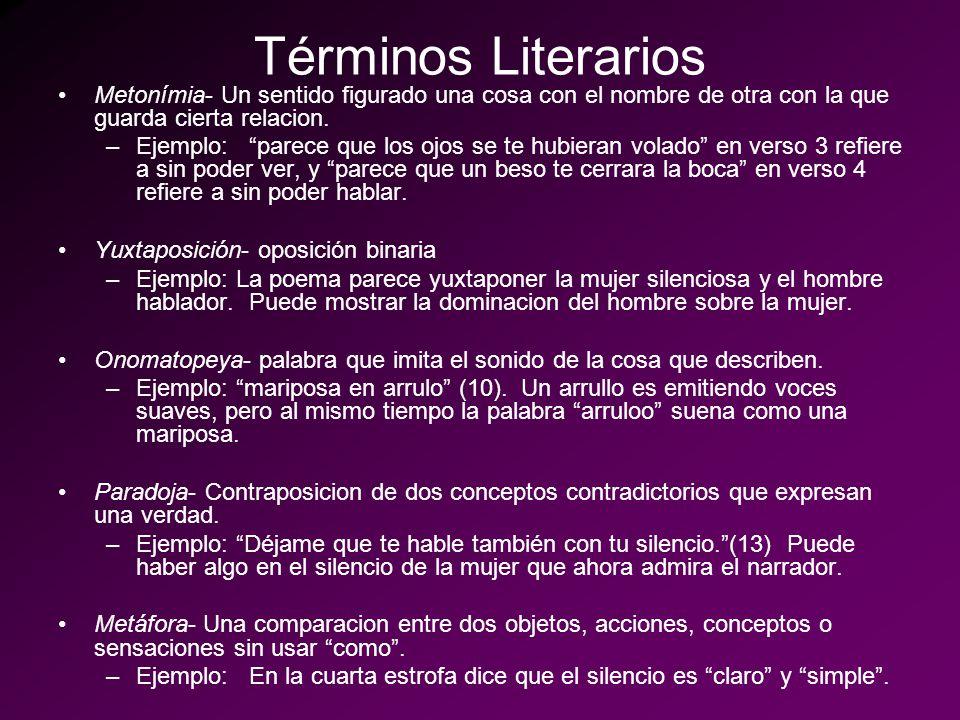 Términos Literarios Metonímia- Un sentido figurado una cosa con el nombre de otra con la que guarda cierta relacion.