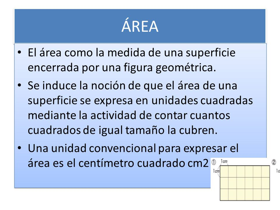 ÁREA El área como la medida de una superficie encerrada por una figura geométrica.