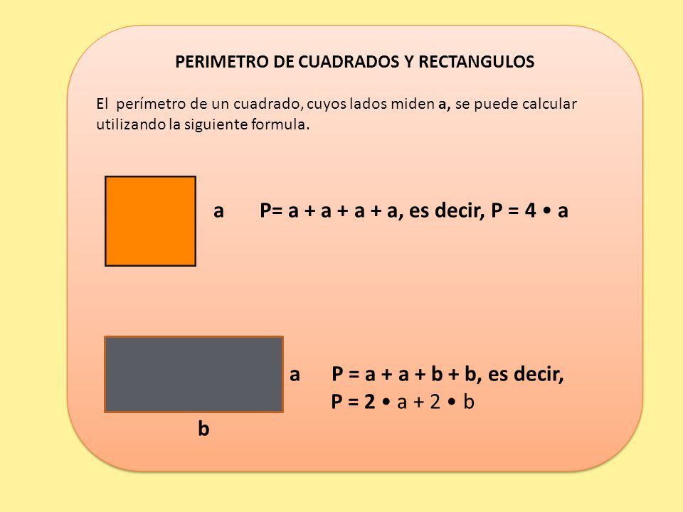 PERIMETRO DE CUADRADOS Y RECTANGULOS