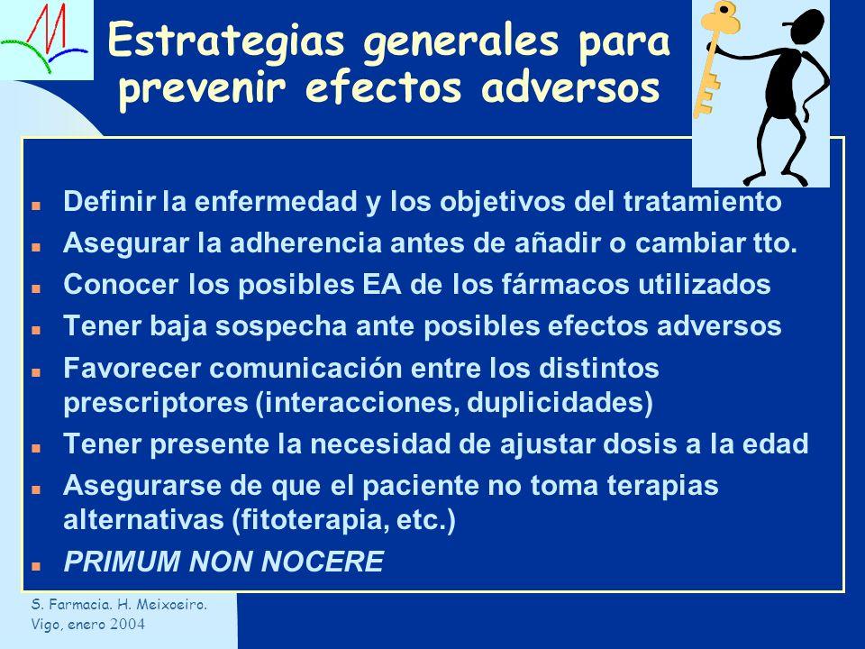 Estrategias generales para prevenir efectos adversos