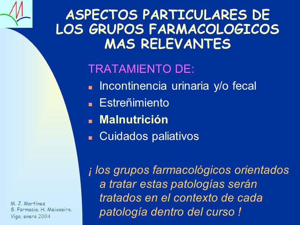 ASPECTOS PARTICULARES DE LOS GRUPOS FARMACOLOGICOS MAS RELEVANTES