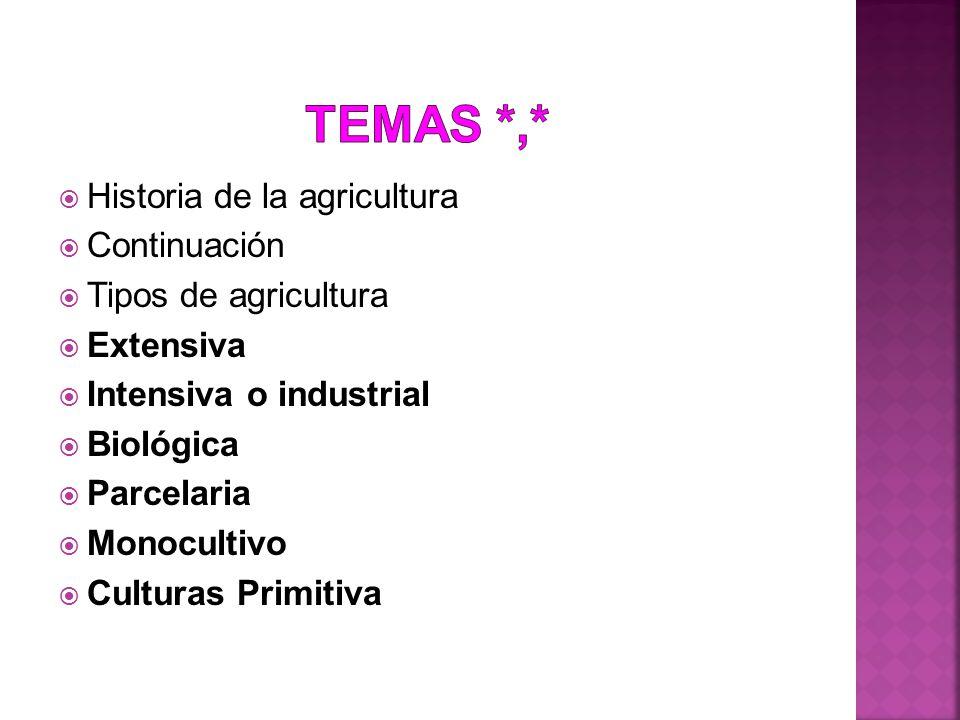 Temas *,* Historia de la agricultura Continuación Tipos de agricultura