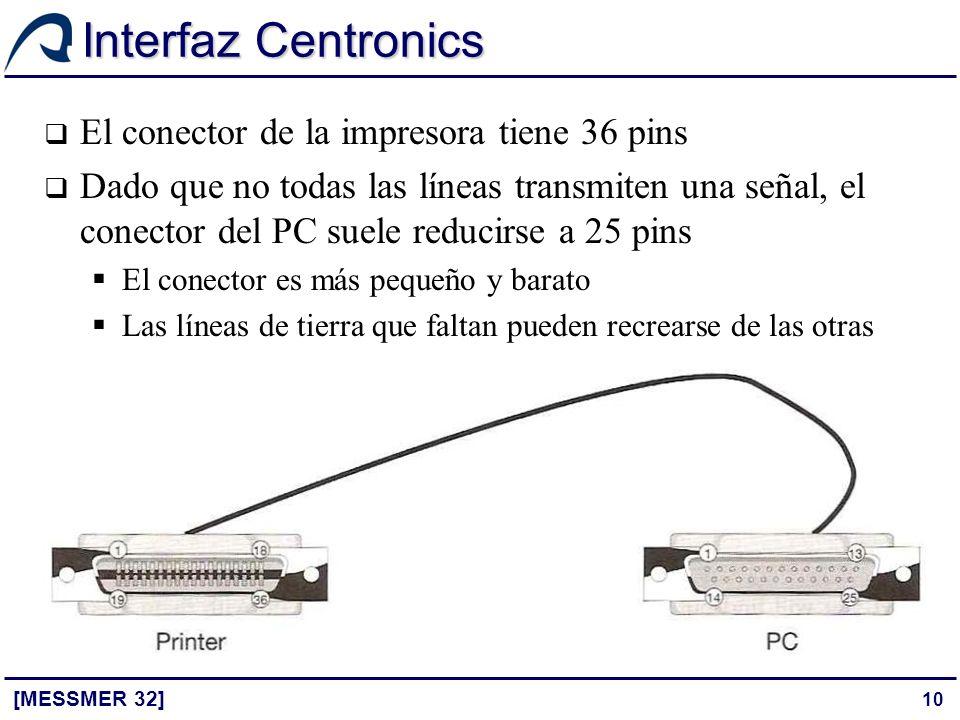 Interfaz Centronics El conector de la impresora tiene 36 pins