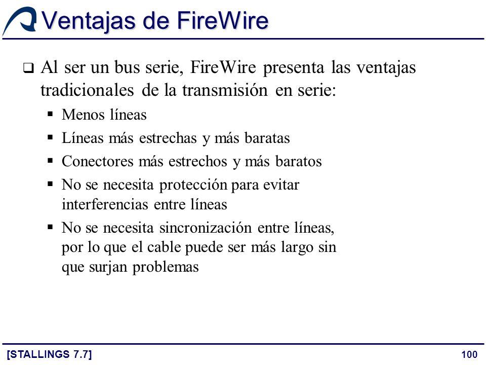 Ventajas de FireWire Al ser un bus serie, FireWire presenta las ventajas tradicionales de la transmisión en serie: