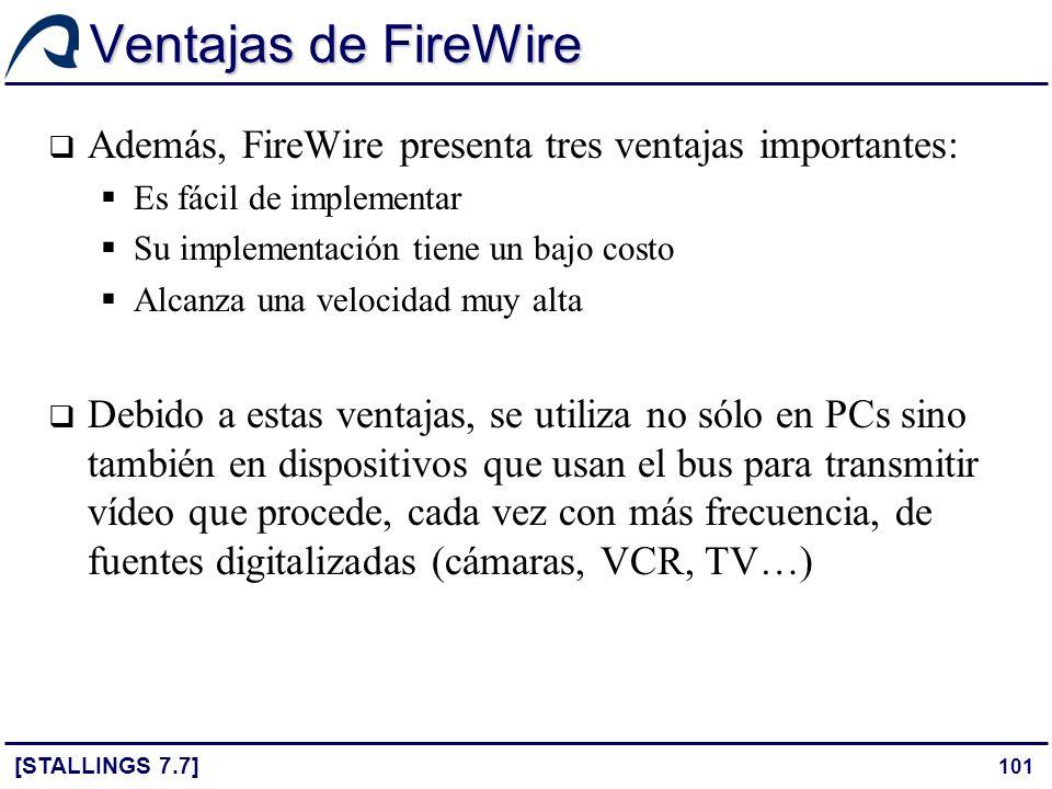 Ventajas de FireWire Además, FireWire presenta tres ventajas importantes: Es fácil de implementar.