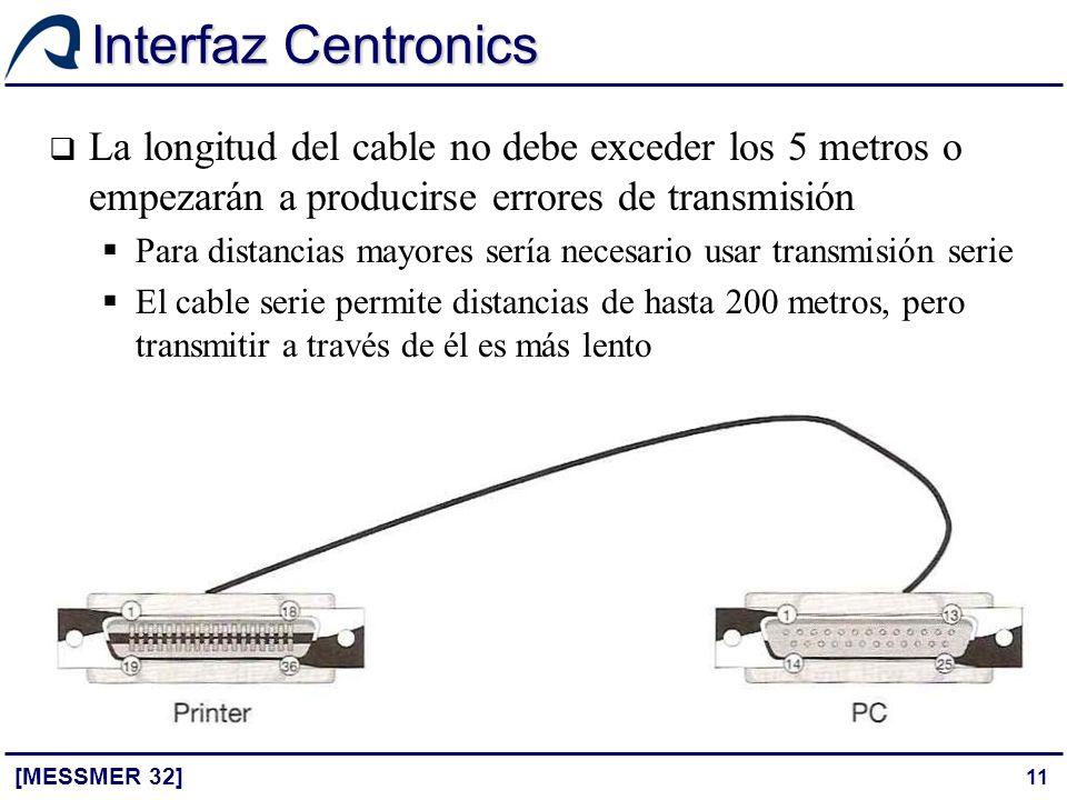 Interfaz Centronics La longitud del cable no debe exceder los 5 metros o empezarán a producirse errores de transmisión.