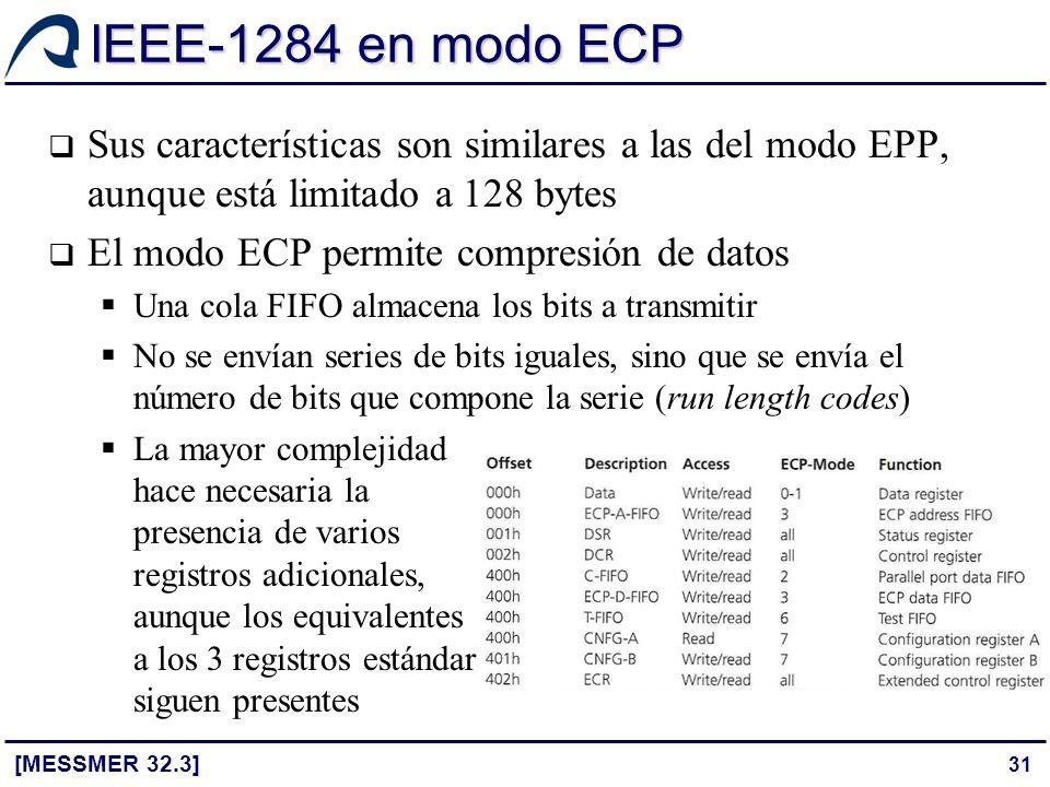 IEEE-1284 en modo ECP Sus características son similares a las del modo EPP, aunque está limitado a 128 bytes.