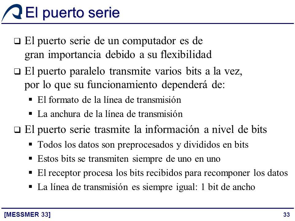 El puerto serie El puerto serie de un computador es de gran importancia debido a su flexibilidad.