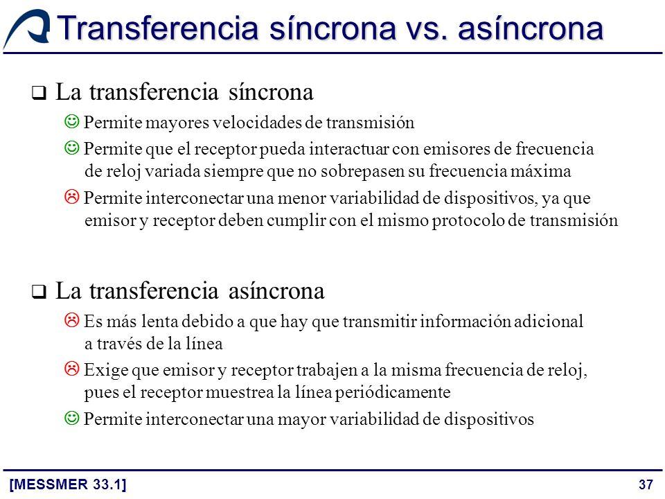 Transferencia síncrona vs. asíncrona